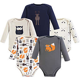 Hudson Baby® 5-Pack Animals Bodysuits in Grey/White