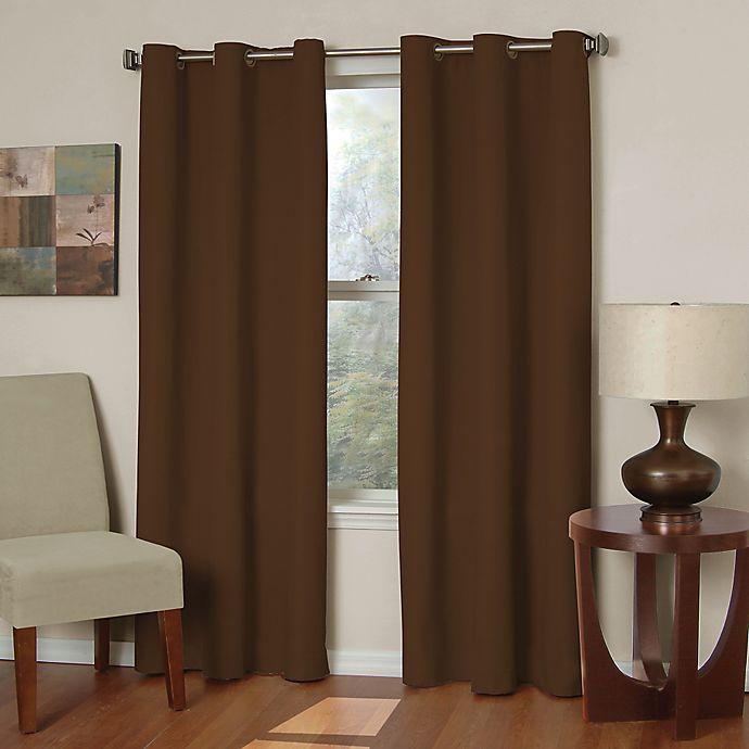 Alternate image 1 for SolarShield® Mandalay Microfiber 63-Inch Room Darkening Window Curtain Panel in Chocolate