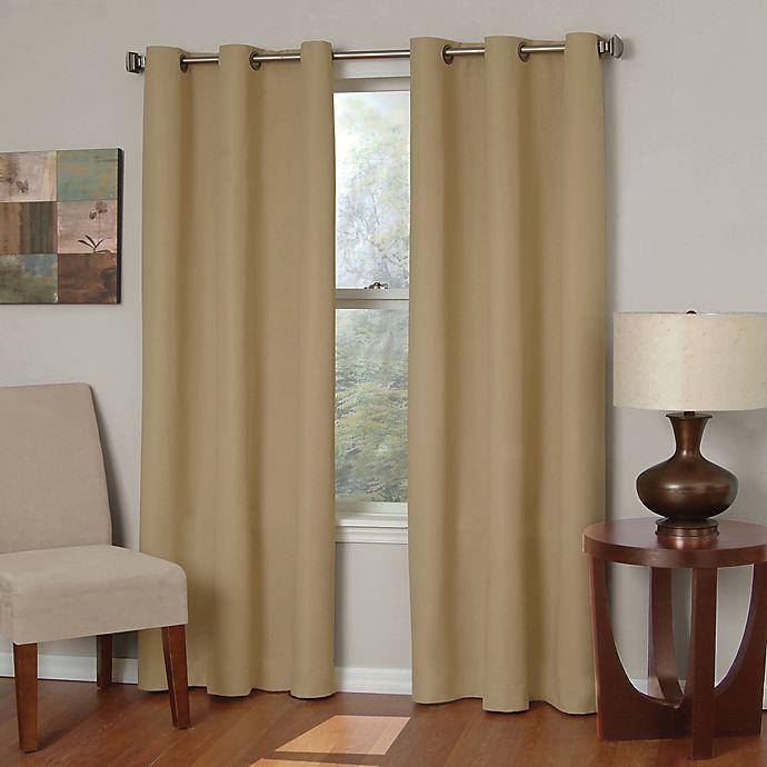 Alternate image 1 for SolarShield® Mandalay Microfiber 63-Inch Grommet Room Darkening Window Curtain Panel in Beige