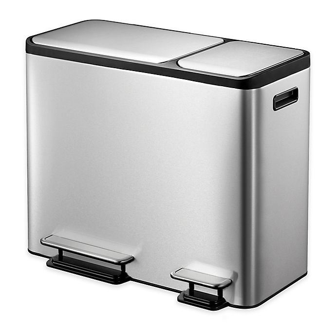 Alternate image 1 for Eko® Eco-Casa Stainless Steel 45-Liter Step Trash and Recycle Can