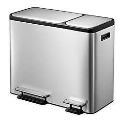 Eko® Eco-Casa Stainless Steel 45-Liter Step Trash and Recycle Can