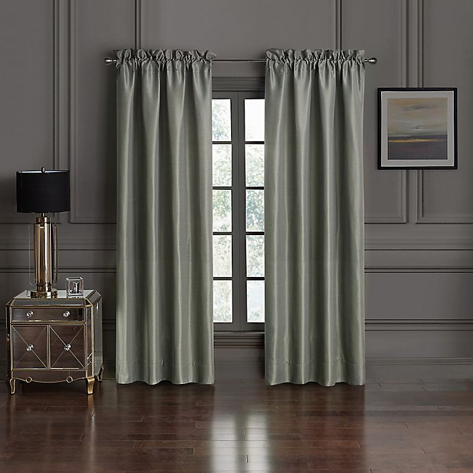 Alternate image 1 for Waterford® Dimitrios 84-Inch Rod Pocket Window Curtain Panel Pair in Charcoal
