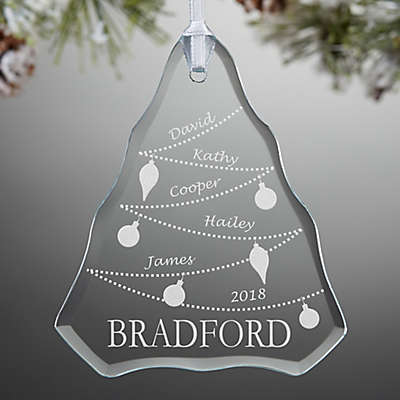 Family Tree Engraved Glass Ornament