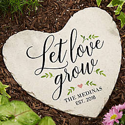 """Let Love Grow"" Large Heart Garden Stone"