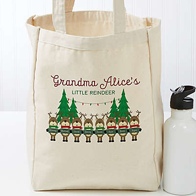 Reindeer Family Personalized Petite Canvas Tote Bag