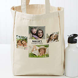 Four Photo Personalized Petite Canvas Tote Bag