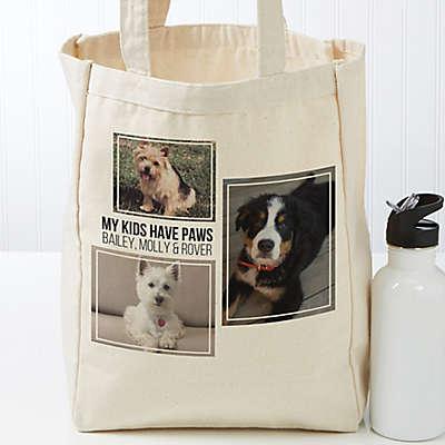 Three Photo Personalized Petite Canvas Tote Bag