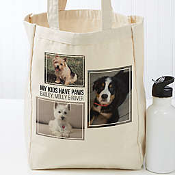 Three Photo Personalized Petite Canvas Tote Bag