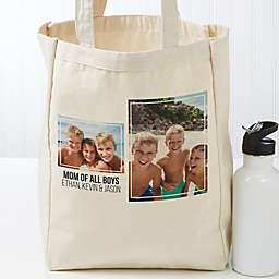 Two Photo Personalized Petite Canvas Tote Bag
