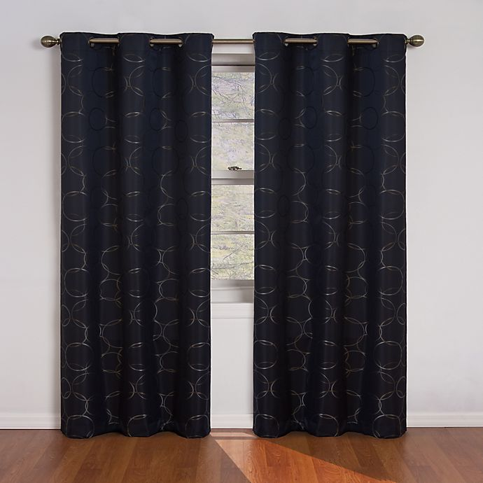 Alternate image 1 for Eclipse Meridian 95-Inch Grommet Room Darkening Window Curtain Panels in Black