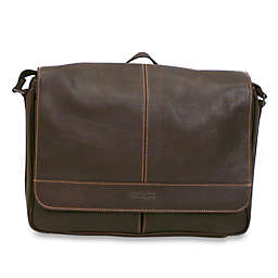 Kenneth Cole Reaction Dark Brown Risky Business Leather Flap-Over Messenger Bag