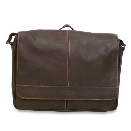4e7df26d3 Kenneth Cole Reaction Dark Brown Risky Business Leather Flap-Over Messenger  Bag