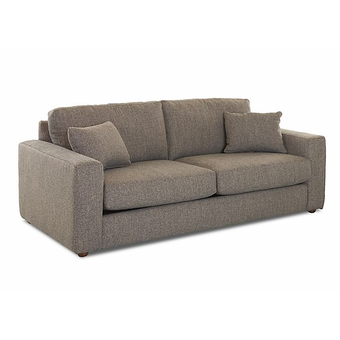 Klaussner Upholstered Loose Pillow Back Recliner Sofa In