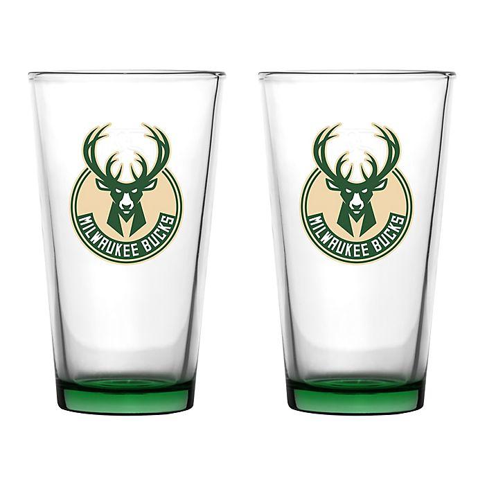 Alternate image 1 for NBA Embossed Pint Glasses (Set of 2)