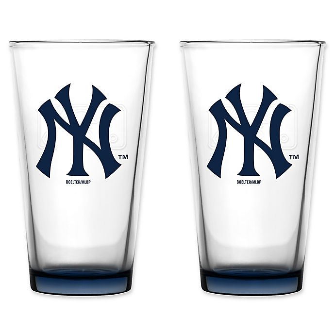 Alternate image 1 for MLB Embossed Pint Glasses (Set of 2) Collection