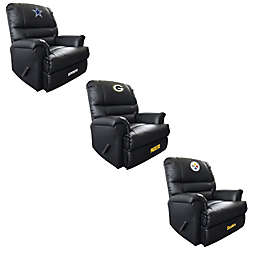 NFL Embroidered Faux Leather Recliner in Black