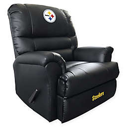 NFL Pittsburgh Steelers Embroidered Faux Leather Recliner in Black