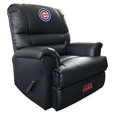 MLB Chicago Cubs Embroidered Faux Leather Recliner in Black