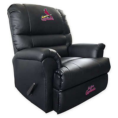 MLB St. Louis Cardinals Embroidered Faux Leather Recliner in Black