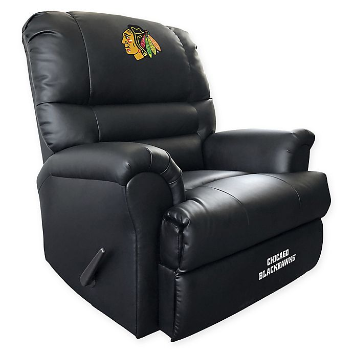 NHL Chicago Blackhawks Embroidered Faux Leather Recliner In Black