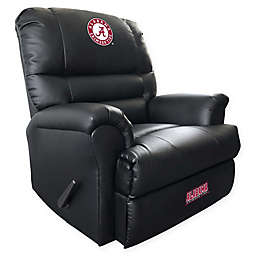 University of Alabama Embroidered Faux Leather Recliner in Black