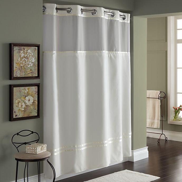 HooklessR Escape 71 Inch X 74 Fabric Shower Curtain And Liner Set In Ivory