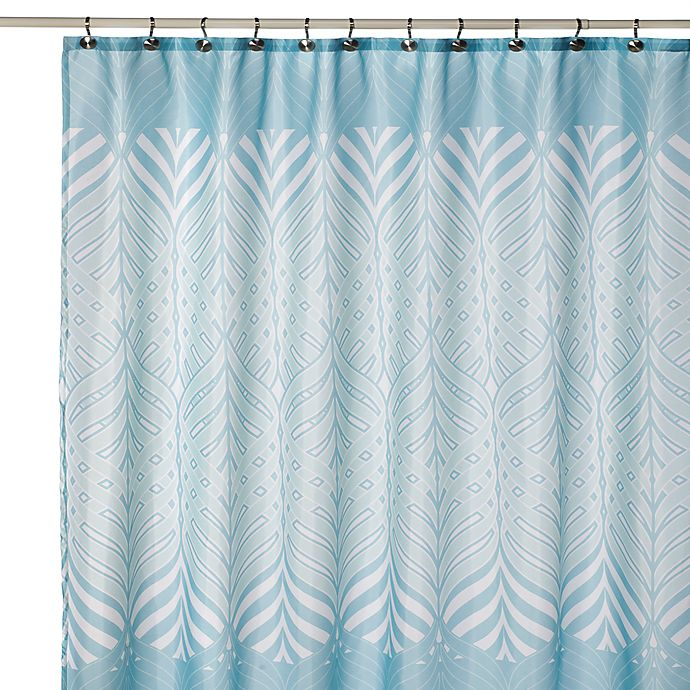 Bliss Blue And White Fabric Shower Curtain