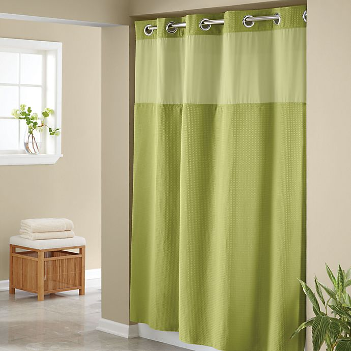 HooklessR Waffle Lime 71 X 74 Fabric Shower Curtain And Liner Set