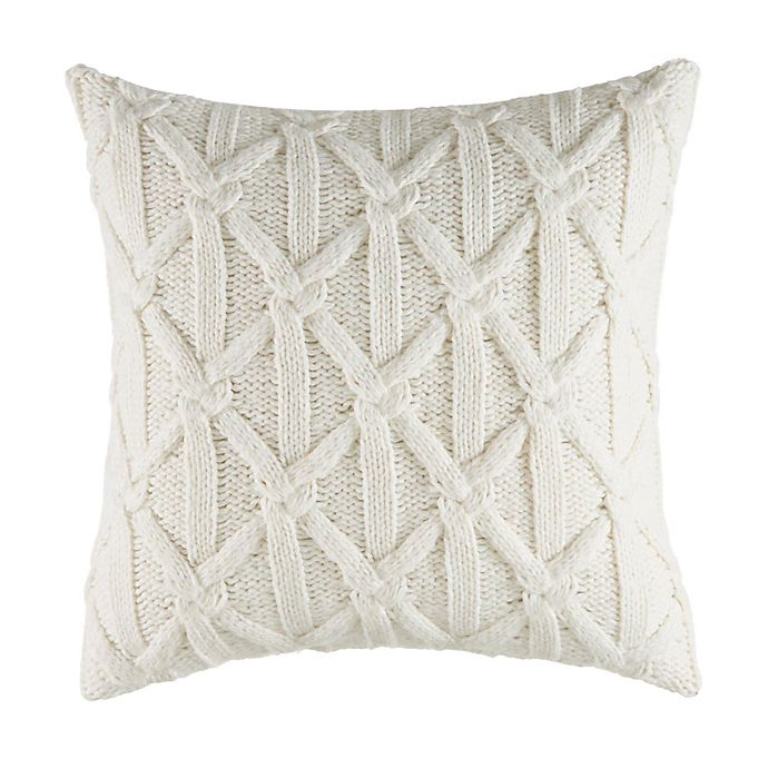 Alternate image 1 for Nautica® Clearview Lattice Knit Square Throw Pillow in Ivory