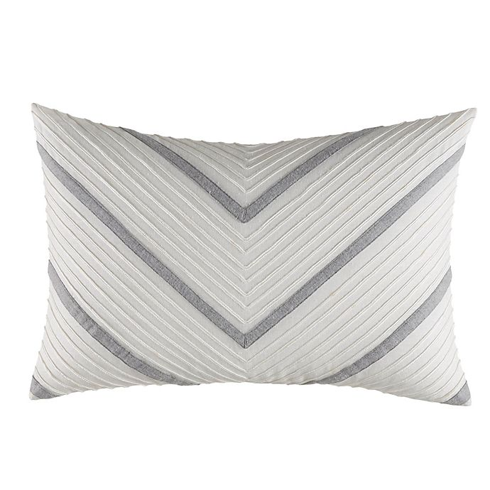Alternate image 1 for Nautica® Clearview Chevron Oblong Throw Pillow in Grey/Ivory