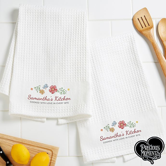Precious Moments Floral Personalized Kitchen Towels Bed Bath