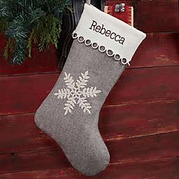 Classic Herringbone Snowflake Personalized Christmas Stocking