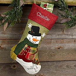 Rustic Boy Snowman Personalized Christmas Stocking