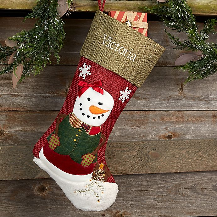 Christmas Stocking Personalized.Rustic Girl Snowman Personalized Christmas Stocking