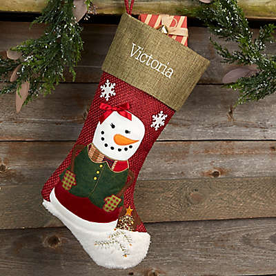 Rustic Girl Snowman Personalized Christmas Stocking
