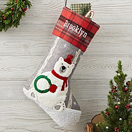 Wintry Cheer Polar Bear Personalized Christmas Stocking