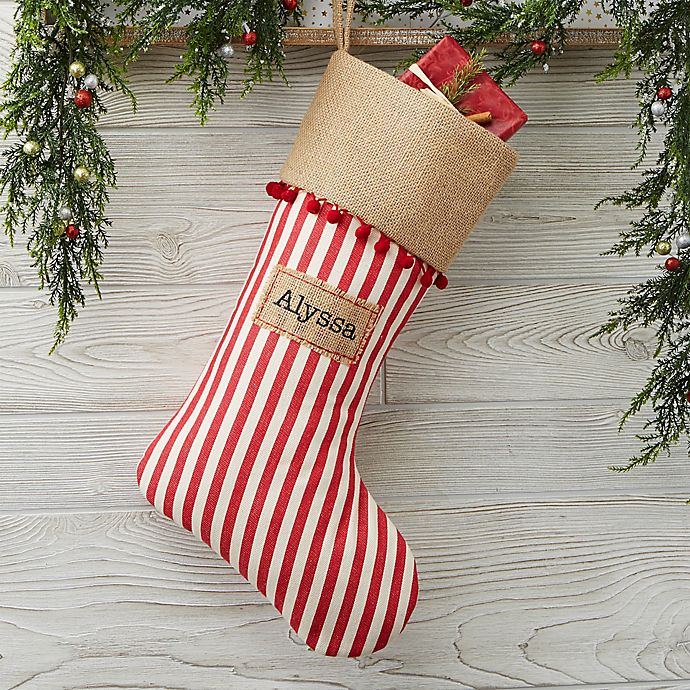 Christmas Stocking Personalized.Stripe Cottage Christmas Personalized Christmas Stocking