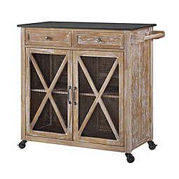 Linon Home Ashboro 2-Door Kitchen Cart in Rustic Brown