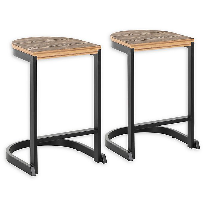 Alternate image 1 for Lumisource® Steel Demi 24-Inch Bar Stools in Black (Set of 2)