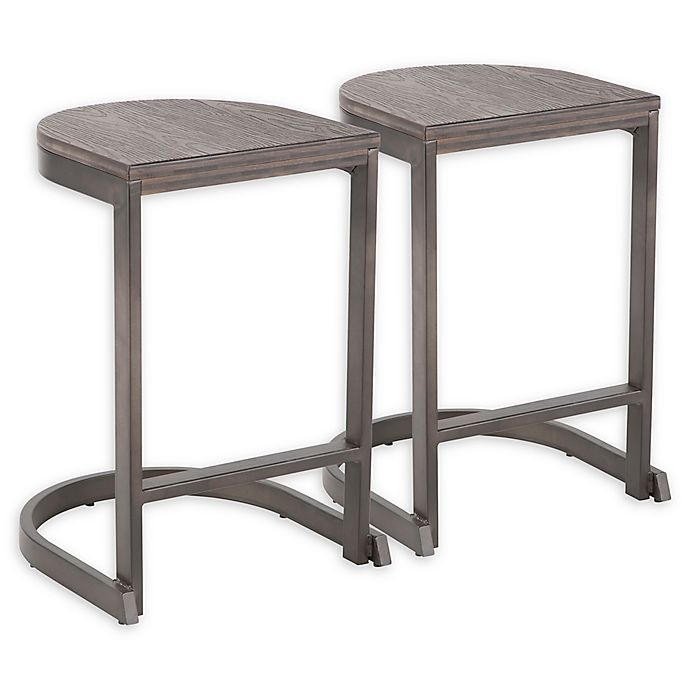 Alternate image 1 for Lumisource® Steel Demi 24-Inch Bar Stools in Antique (Set of 2)