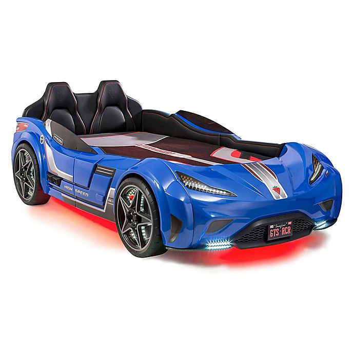 Alternate image 1 for Cilek GTS Race Car Twin Bed in Blue
