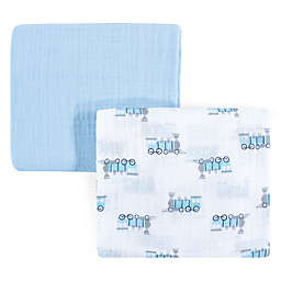 Luvable Friends® Train 2-Pack Muslin Swaddle Blanket Set in Blue