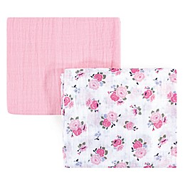 Luvable Friends® Floral 2-Pack Muslin Swaddle Blanket Set in Pink