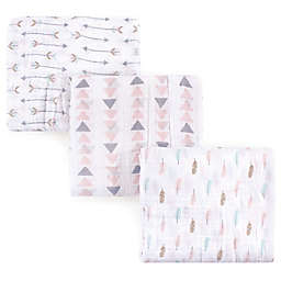Luvable Friends® Arrow 3-Pack Muslin Swaddle Blanket Set in Pink