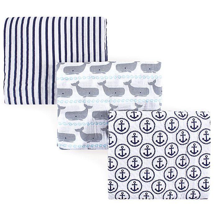 Alternate image 1 for Hudson Baby® Whales 3-Pack Muslin Swaddle Blanket Set in Blue