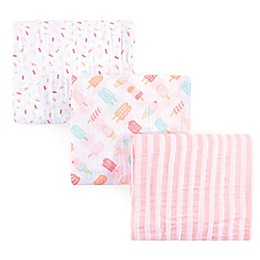 Hudson Baby® Ice Cream 3-Pack Muslin Swaddle Blanket Set in Pink