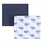Hudson Baby® Whale 2-Pack Muslin Swaddle Blanket Set in Blue