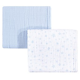 Hudson Baby® Stars 2-Pack Muslin Swaddle Blanket Set in Blue