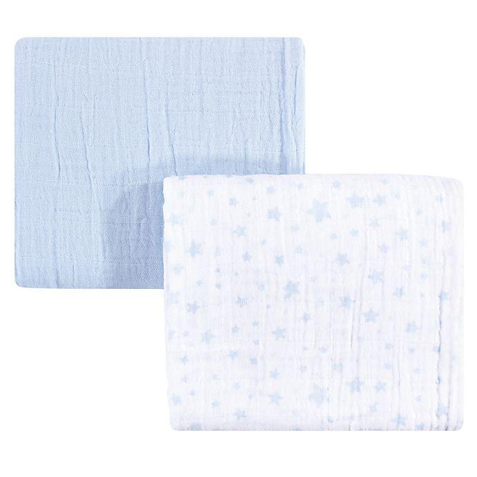 Alternate image 1 for Hudson Baby® Stars 2-Pack Muslin Swaddle Blanket Set in Blue