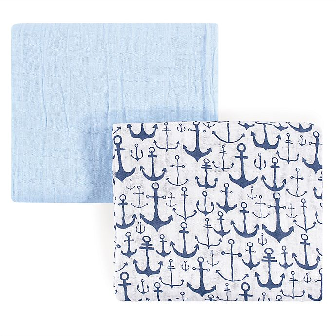 Alternate image 1 for Yoga Sprout Anchor 2-Pack Muslin Swaddle Blanket Set in Blue